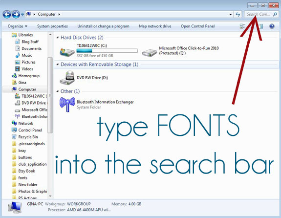 how to find font files on my computer