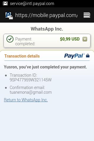 Menambah Masa Aktif Whatsapp Dengan PayPal