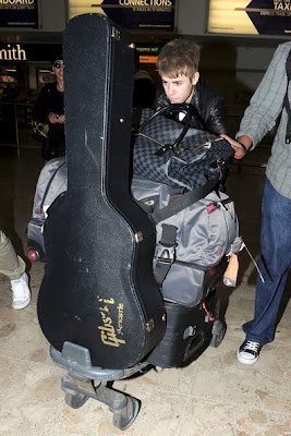 Justin Bieber arrival at London Heathrow Airport