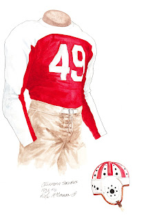 1938 University of Oklahoma Sooners football uniform original art for sale