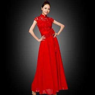 Model Gaun Pesta Brokat Merah Cantik