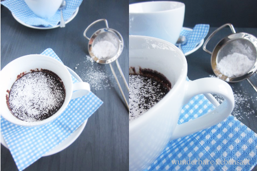 Nutella-Mikrowellen-Tassen-Kuchen, schneller einfacher Schokokuchen