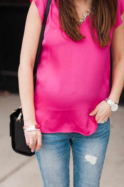 maternity style, bump style, pink flutter top, distressed maternity jeans, kate spade bangles, kate spade watch, spring style 2015, fashion blogger, style blogger, nashville blogger, rocksbox