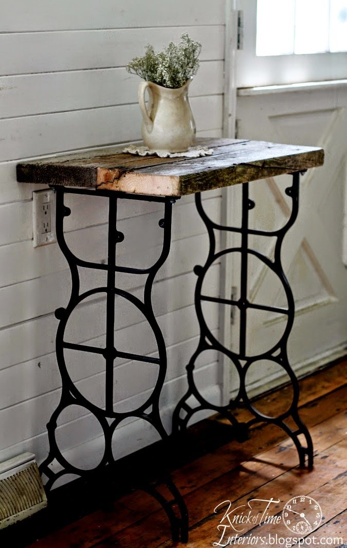Sewing machine leg side table by Knick of Time Interiors, featured on ILoveThatJunk.net