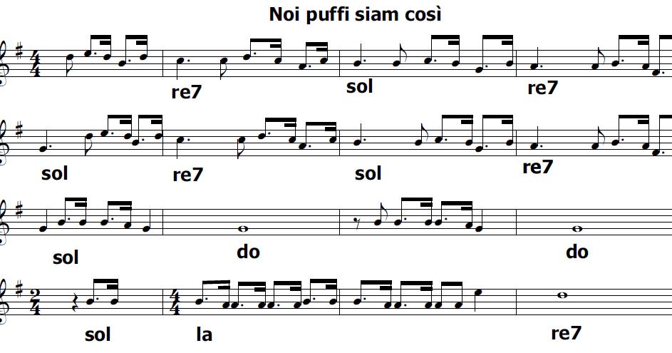 Musica e spartiti gratis per flauto dolce i puffi - Aggiungi un posto a tavola accordi ...
