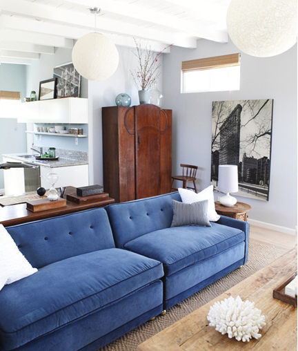 blue velvet sofa obsession