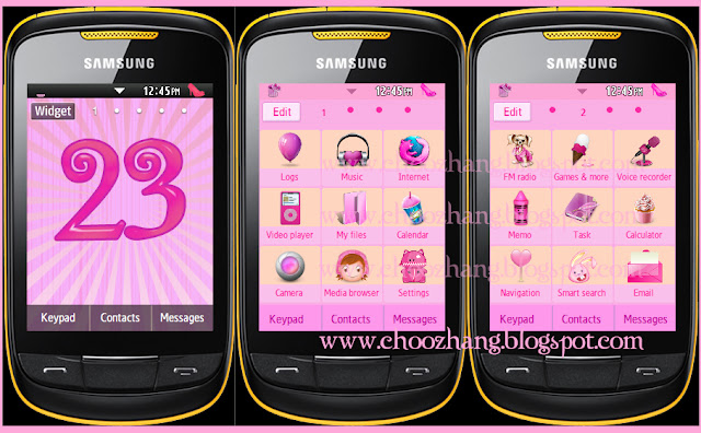 Samsung Corby 2 or S3850 - Pink Gurly Themes