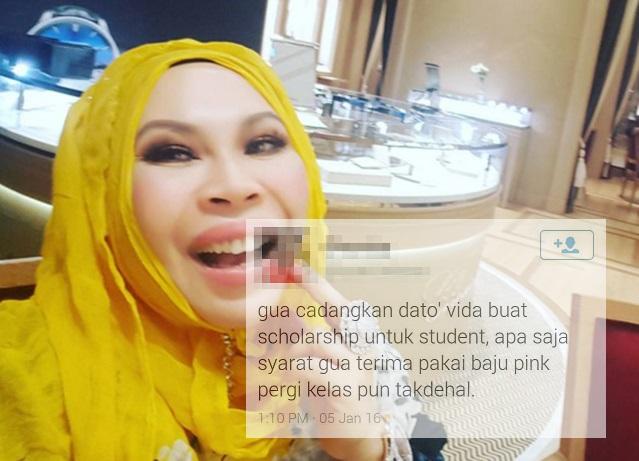 Jawapan 'Menusuk Kalbu' Dari Dato Seri Vida Mengenai Permintaan Supaya Taja Belajar