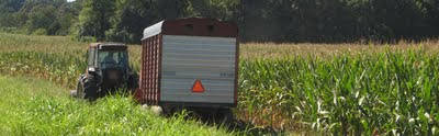 tractor chopping corn wagon