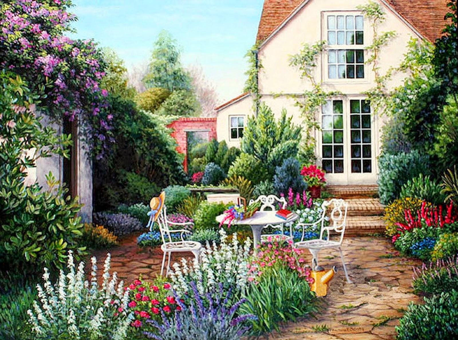 Im genes arte pinturas paisajes con jardines y flores for Casas jardin del mar