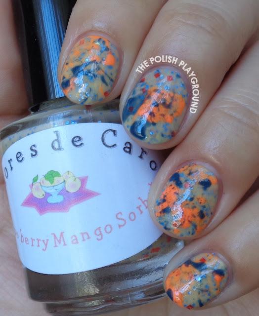 Neon Orange and Blue Splatter Nail Art