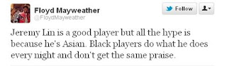 Floyd Mayweather tweeted against Jeremy Lin