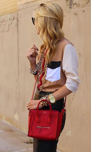 Amarelo Bordo+Celine+Luggage+Nano+Fashion+Bag+bolsa+tendencia+moda