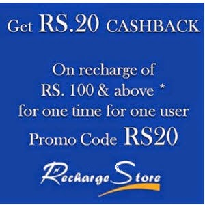 Mobile Recharge & Bill Payments Rs. 20 cashback on Rs. 100 at  RechargeStore