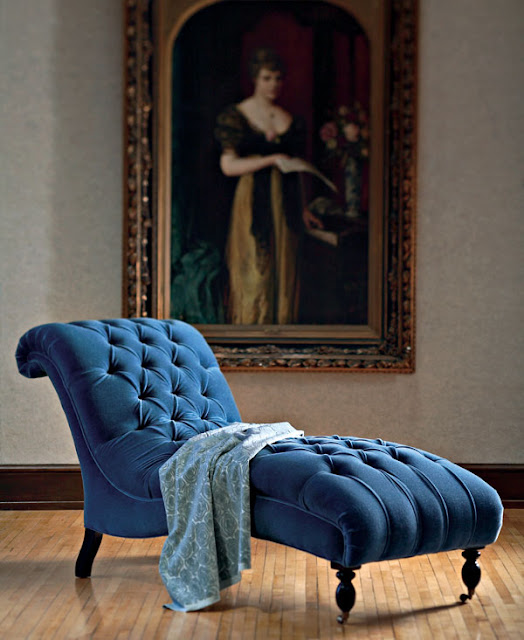 Eye for design decorating with velvet mixing modern for Blue velvet chaise