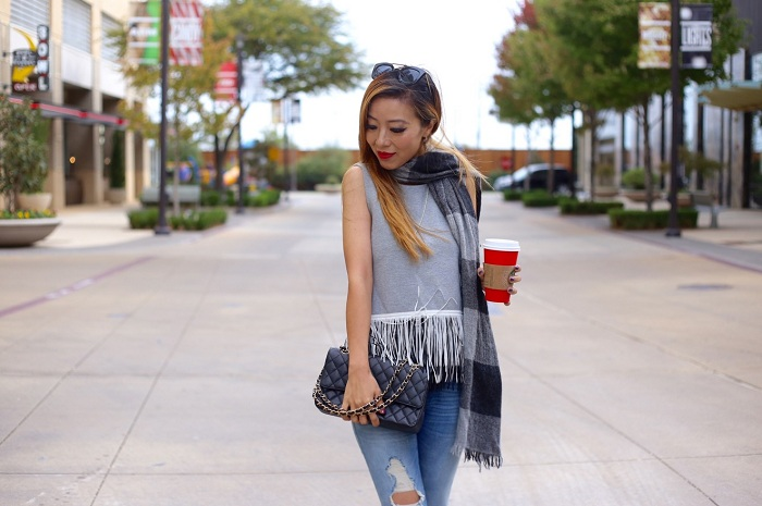 J crew KNIT TOP WITH FUN FRINGE, j crew checker scarf, justfab military jacket, justfab lace up flats, lace up flats, holiday red up, starbucks red cup, chanel bag, kendra scott necklace, holiday outfit ideas, holiday outfit, nyc blogger, fahsion blog, ripped jeans, holiday sale, black friday sale, black friday sales, black friday deal, black friday deals