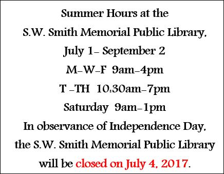 S. W. Smith Public Library Summer Hours