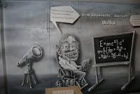 Mural ścienny przedstawiający karykaturę fizyka namalowanego na Politechnice Warszawskiej