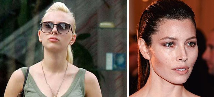 Scarlett Johansson and Jessica Biel with septum rings