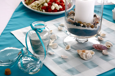 Beach themed wedding centrepiece