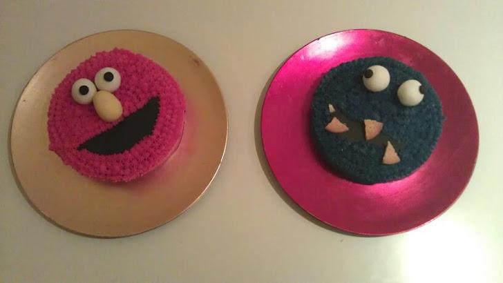 Elmo y El Monstruo de las galletas!! Tartas de Buttercream