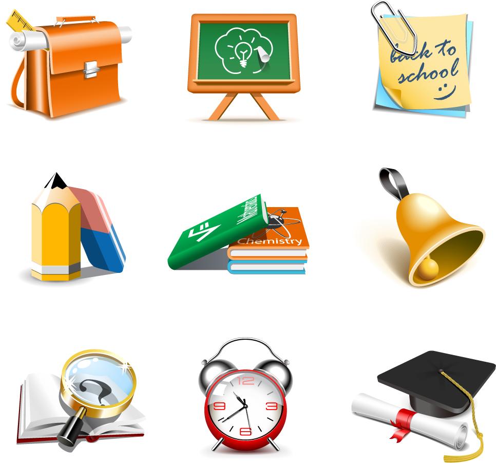立体的な学校関連のクリップアート exquisite school supplies イラスト素材