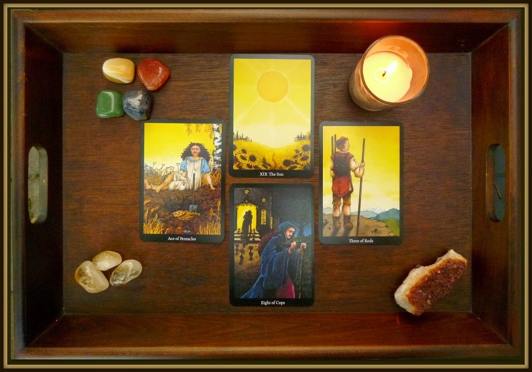 tarot spell Anna K Tarot, Eight of Cups, Three of Rods, The Sun, Ace of Pentacles, full harvest moon