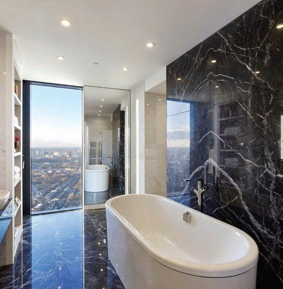 If There Is One Thing I Absolute Love Itu0027s An Entire Wall Covered By A Slab  Of Marble. It Is Just Absolutely Stunning.This Bathroom With Itu0027s Sleek  Shelving ...