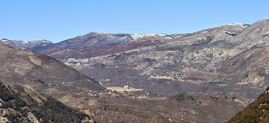 Villages of Cipieres and Greolieres seen from the trail