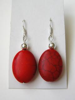 biżuteria z półfabrykatów - czerwień z czernią (kolczyki)