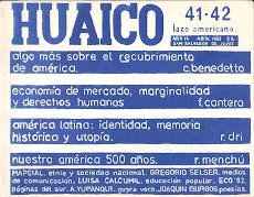HUAICO 41/2 (revista-libro). San Salvador de Jujuy. Abril 1993. 214 pp. (17 x 22 cm)