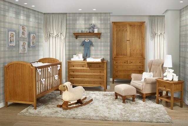 Quarto para bebês com estilo rústico