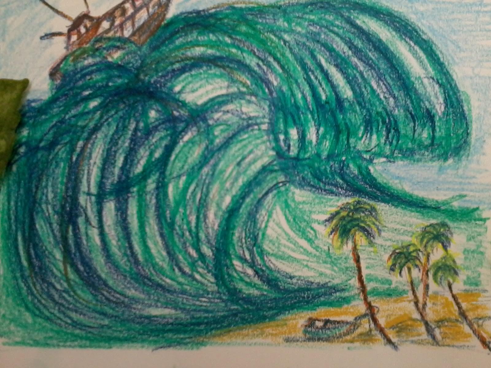 how to draw a tsunami