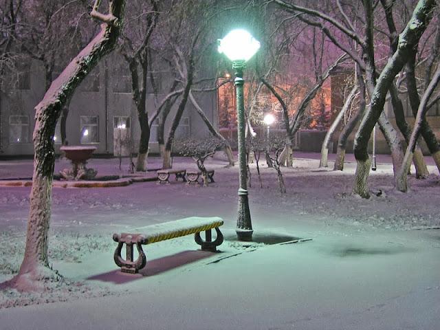 лавочка зимой на улице во дворе