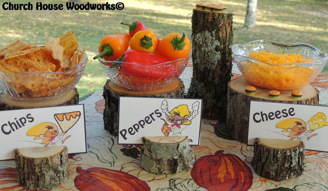 food rustic tree branch card holders speedy gonzales cheese chips peppers food buffet