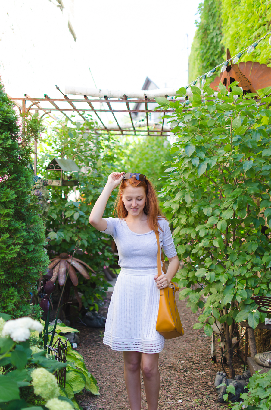 Beautyosaurus Lex- beauty- fashion- style-lifestyle-wisconsin-cedarburg-J.Crew-plakton-skirt-sandals-summer-california electric-gap-red hair