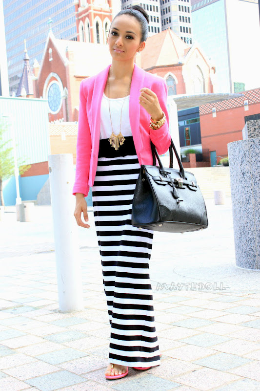 Striped Maxi Skirt With A Pop Of Pink