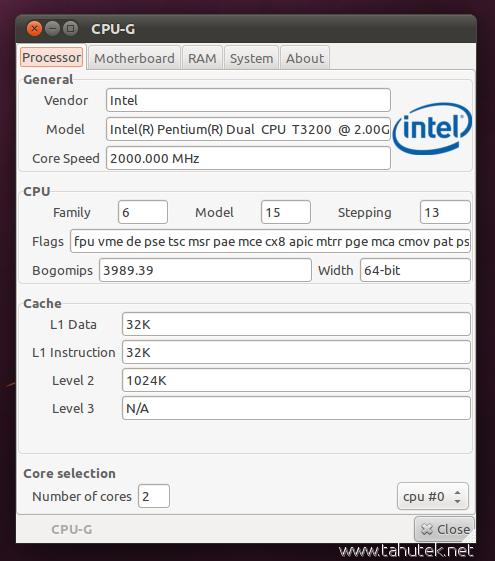CPU-G: Tampilkan informasi hardware di Ubuntu