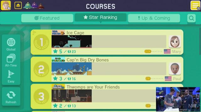Saiba mais detalhes (com imagens) sobre o compartilhamento online de estágios em Super Mario Maker 5
