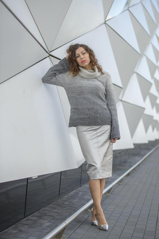srebrna spódnica stylizacja