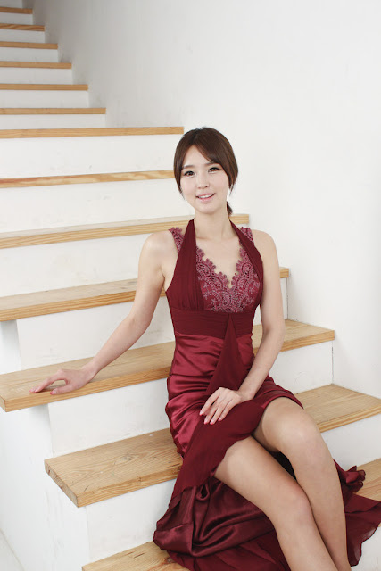3 Choi Byeol Ha in Maroon  -Very cute asian girl - girlcute4u.blogspot.com