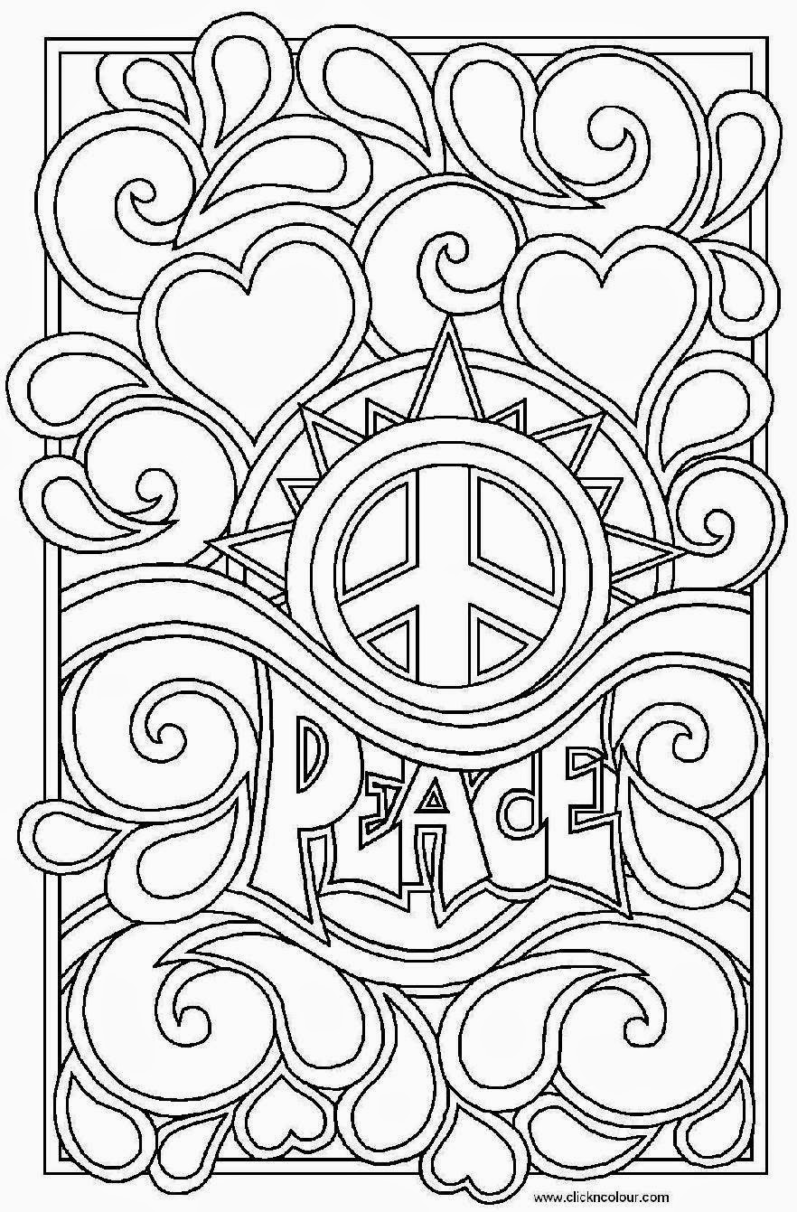 heart peace sign coloring pages - photo#12