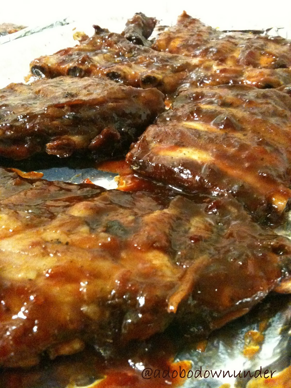 adobo down under: Baby back ribs in ginger-orange glaze