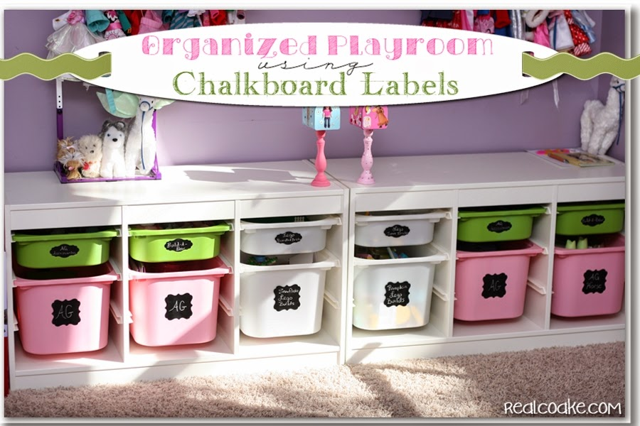 An organized playroom using chalkboard labels to help toy storage stay organized. #Organizing # & Chalkboard Labels for Organized Toy Storage