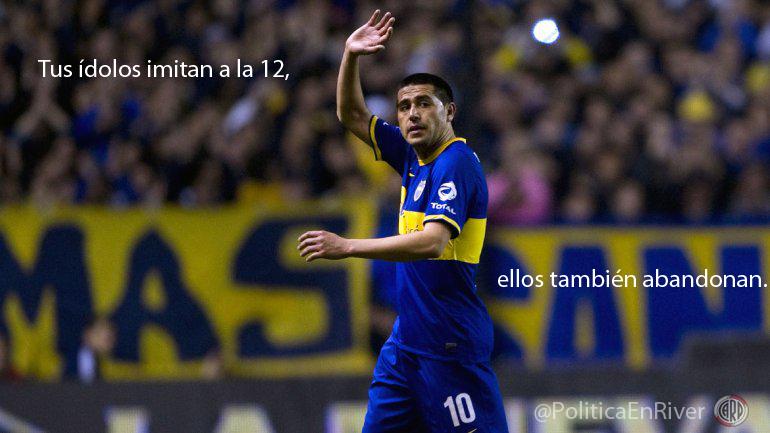 Riquelme, cambio, superclasico, afiche, River, River Plate, Boca, Boca Juniors, Torneo Final, 2014, Bombonerazo,