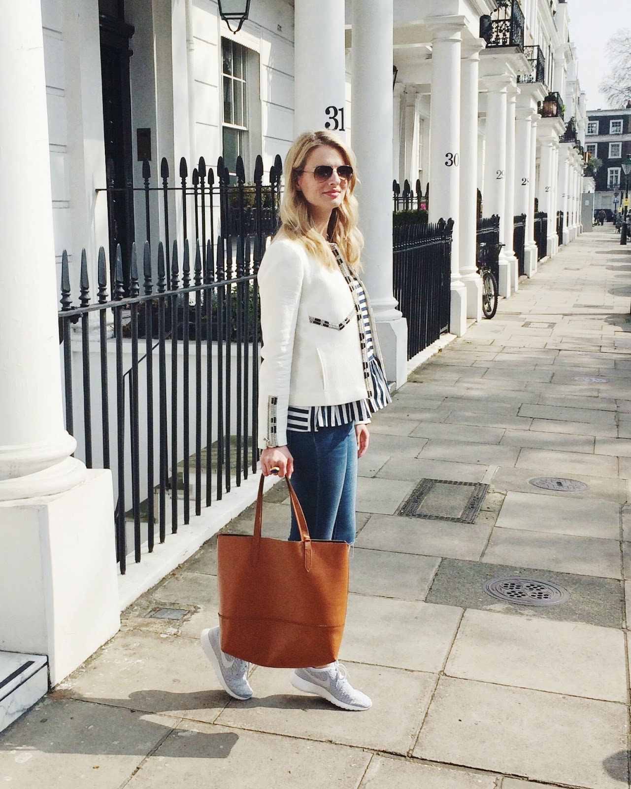 camel tote, brown leather tote, accessory fix, london blogger, street style london, white blazer, embellished blazer, striped top, striped zara top