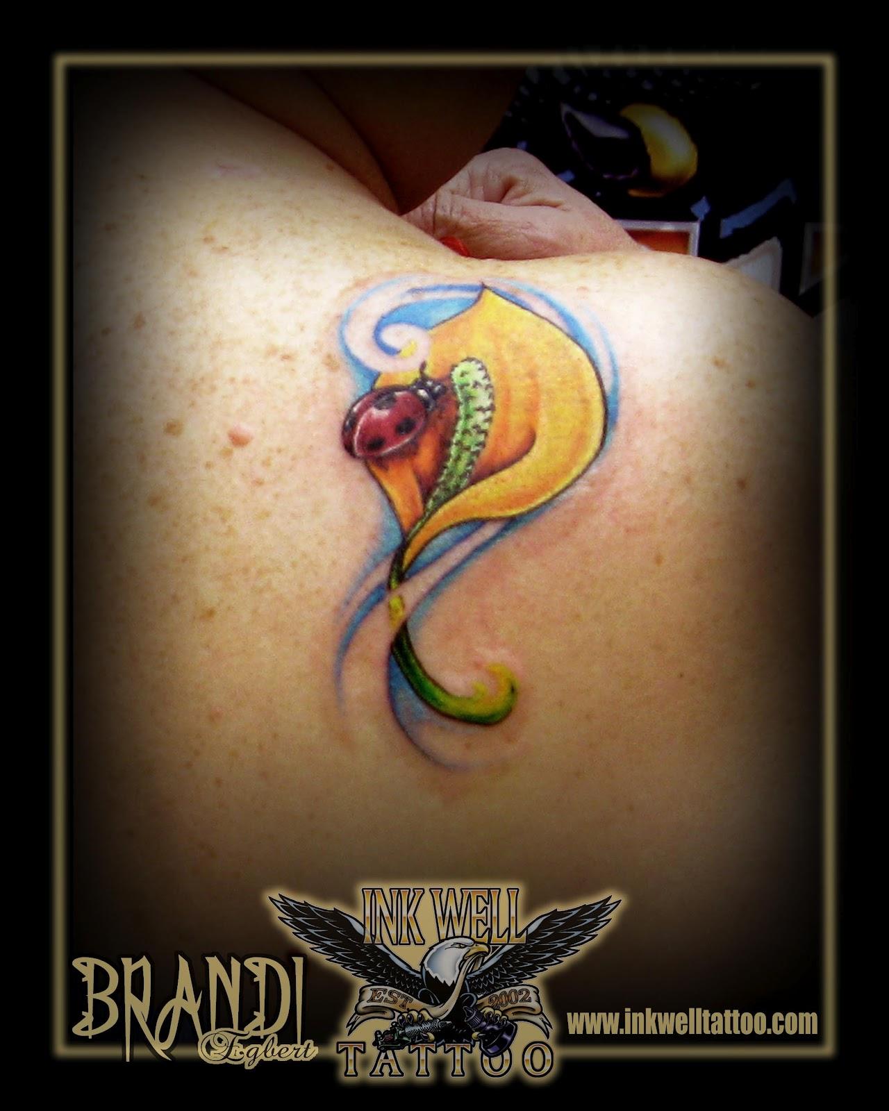 brandi egbert ink well tattoo ladybug and peace lily