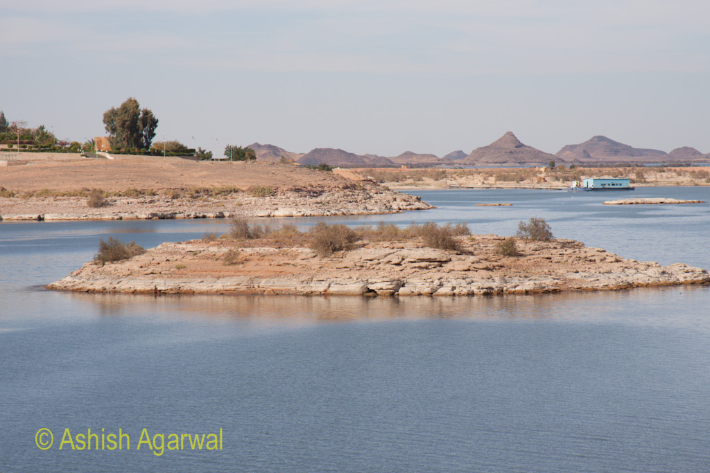 Small island in the water near the Abu Simbel temple in south Egypt