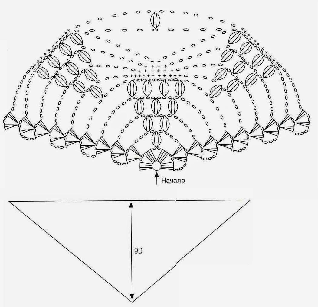 Шарф бактус спицами схема 1 фотография