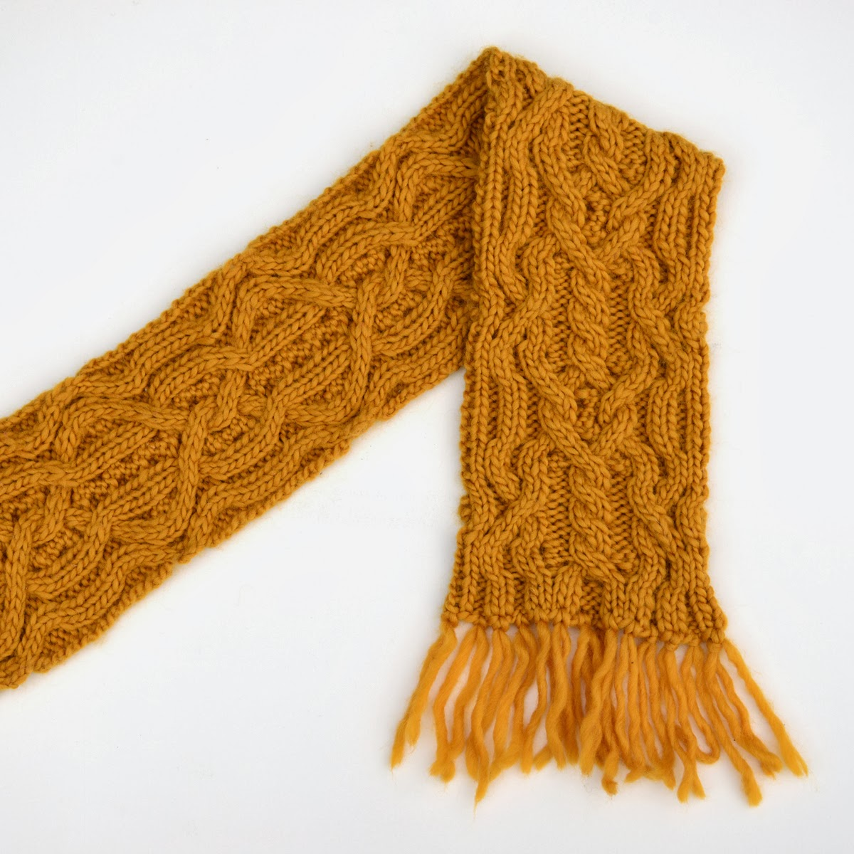 So, I make stuff: Double mustard reversible cabled scarf